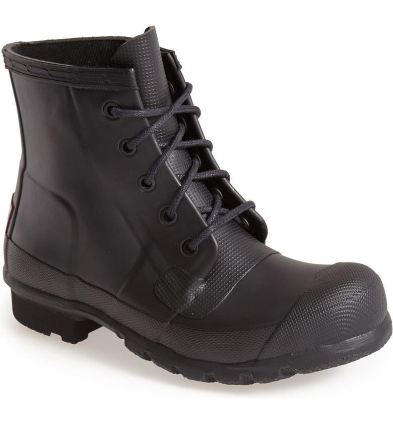 HUNTER 'Original' Lace-Up Rain Boot, Main, color, 001