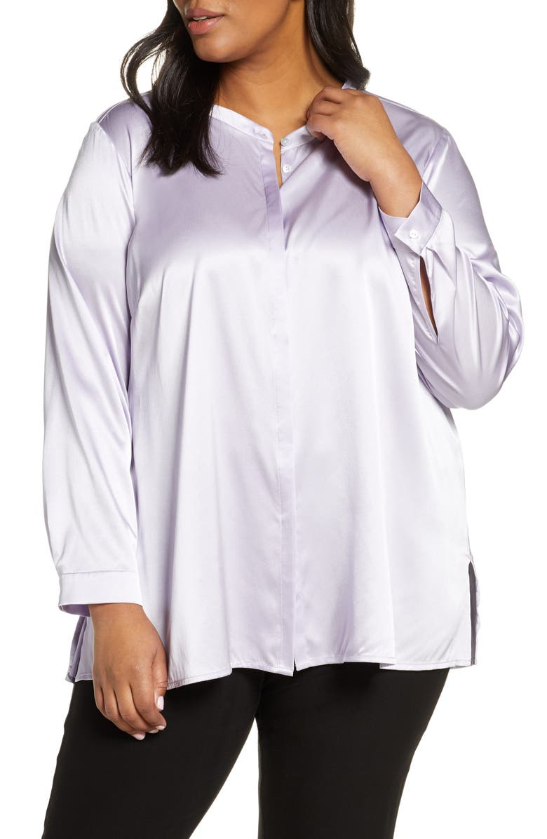 EILEEN FISHER Band Collar Shirt, Main, color, WISTERIA