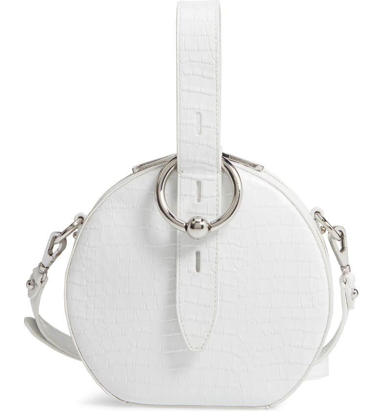 REBECCA MINKOFF Kate Embossed Leather Circle Bag, Main, color, 100
