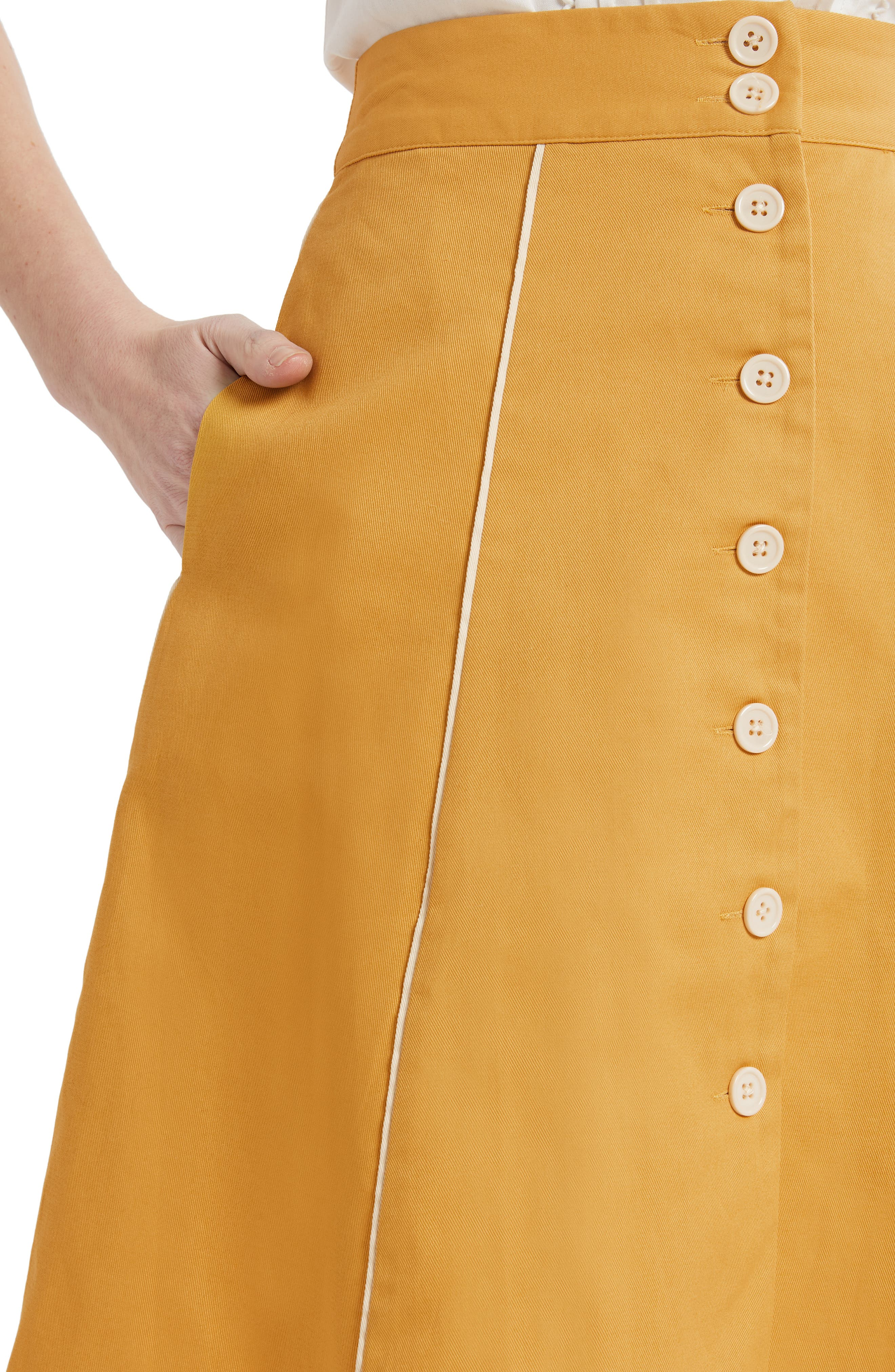 ,                             Button Front A-Line Skirt,                             Alternate thumbnail 4, color,                             MUSTARD- YOLK YELLOW