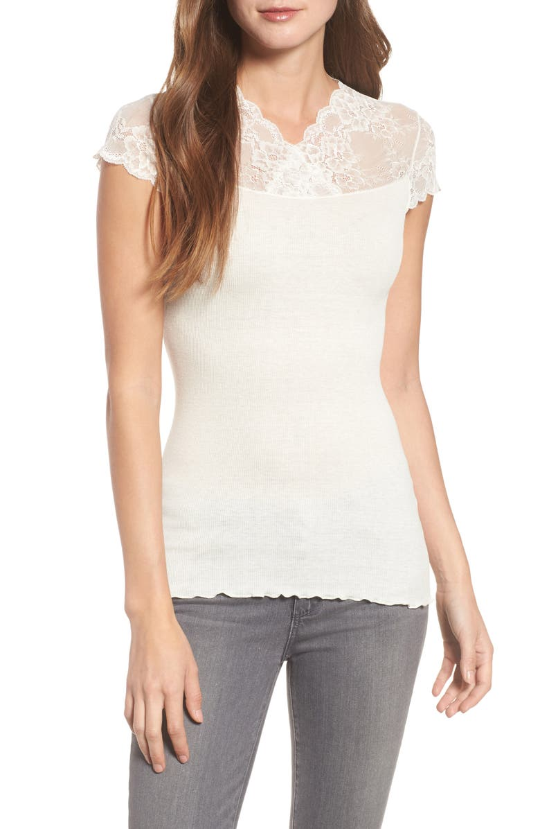 ROSEMUNDE Brigit Lace Yoke Tee, Main, color, 901