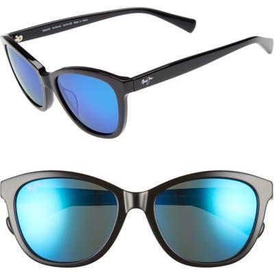 Maui Jim Canna 5m Polarizedplus2 Cat Eye Sunglasses - Gloss Black/ Blue Hawaii
