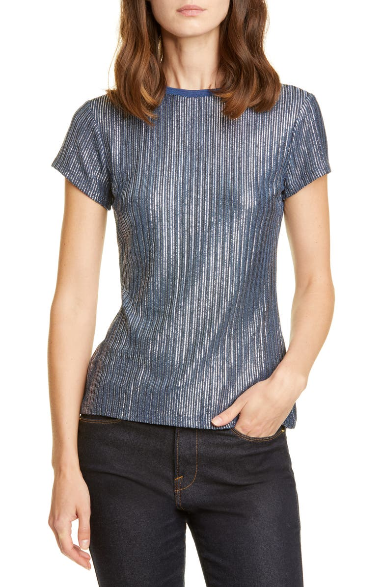 TED BAKER LONDON Catrino Fitted Metallic Tee, Main, color, MID BLUE