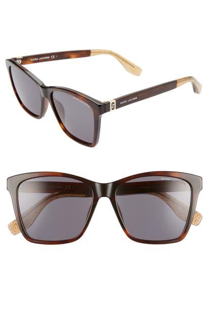 Marc Jacobs Sunglasses 56MM CAT EYE SUNGLASSES - HAVANA/ GREY BLUE