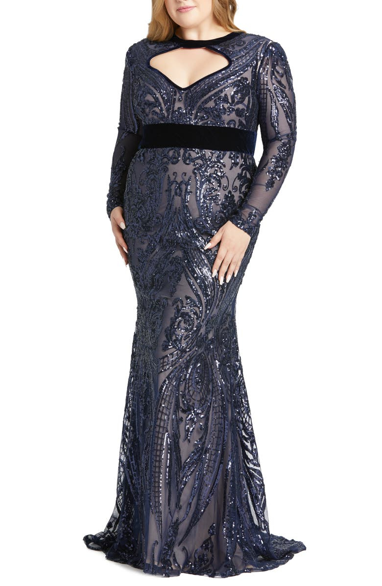 MAC DUGGAL Sequin Long Sleeve Mermaid Gown, Main, color, 410