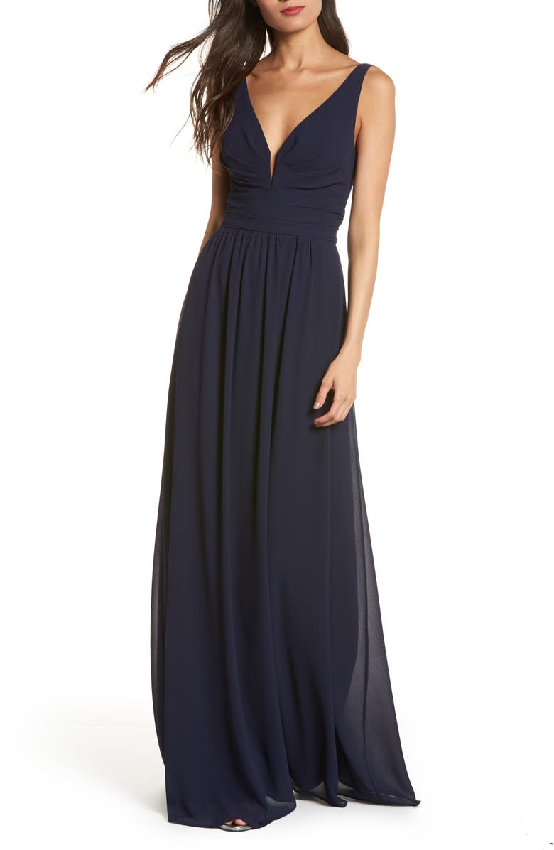 LULUS V-Neck Chiffon Gown, Main, color, NAVY