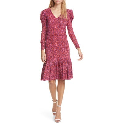 Dvf Alyssa Puff Long Sleeve Body-Con Dress, Red
