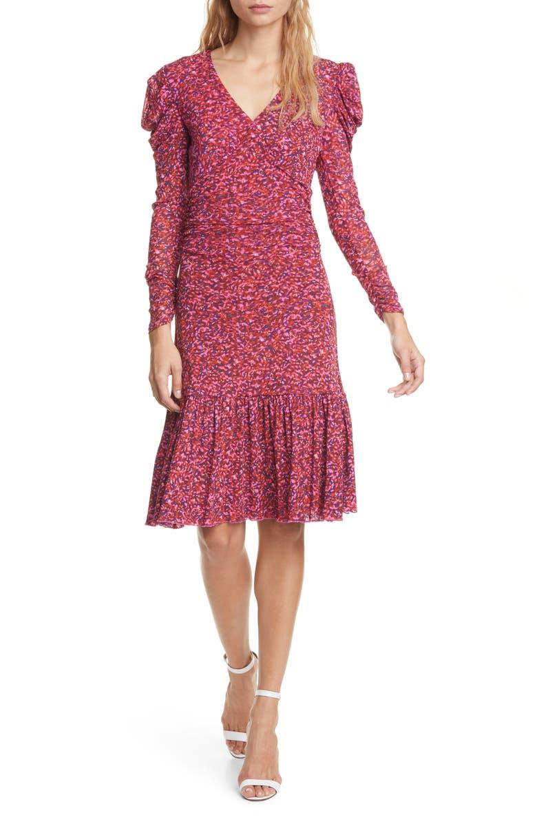 DVF Alyssa Puff Long Sleeve Body-Con Dress, Main, color, SCRIBBLE GARDEN ACAI