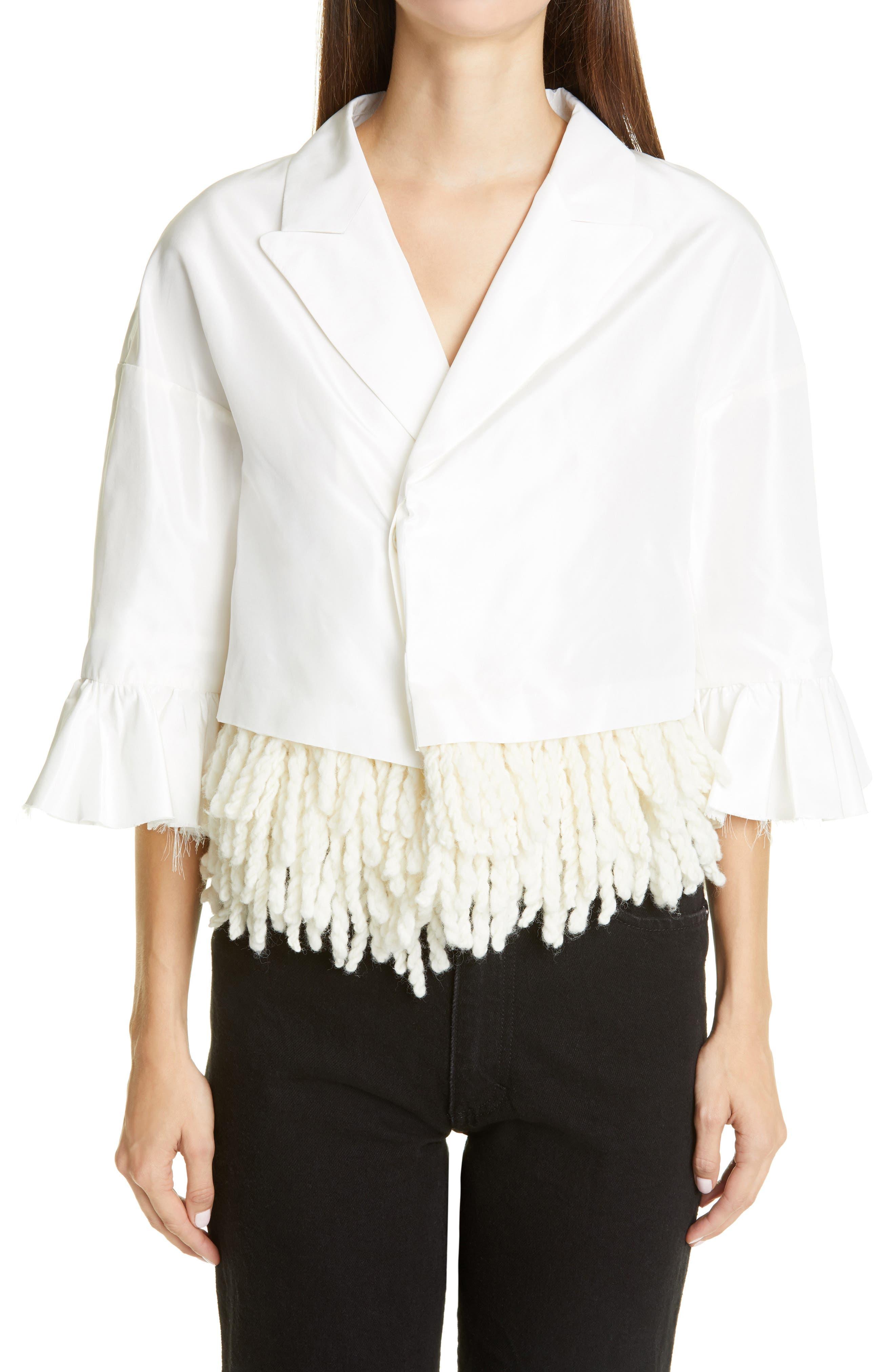 Undercover Crop Fringe Trim Silk Jacket | Nordstrom