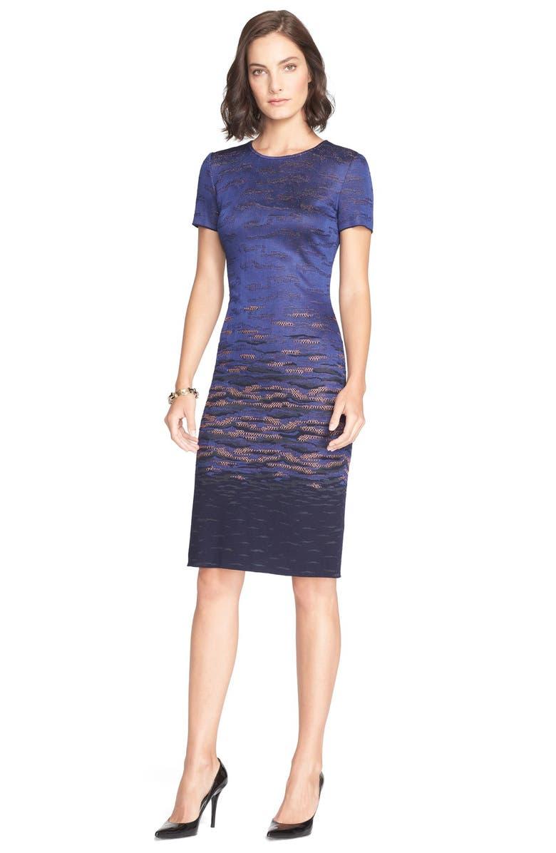 ST. JOHN COLLECTION Sunset Jacquard Knit Dress, Main, color, 410