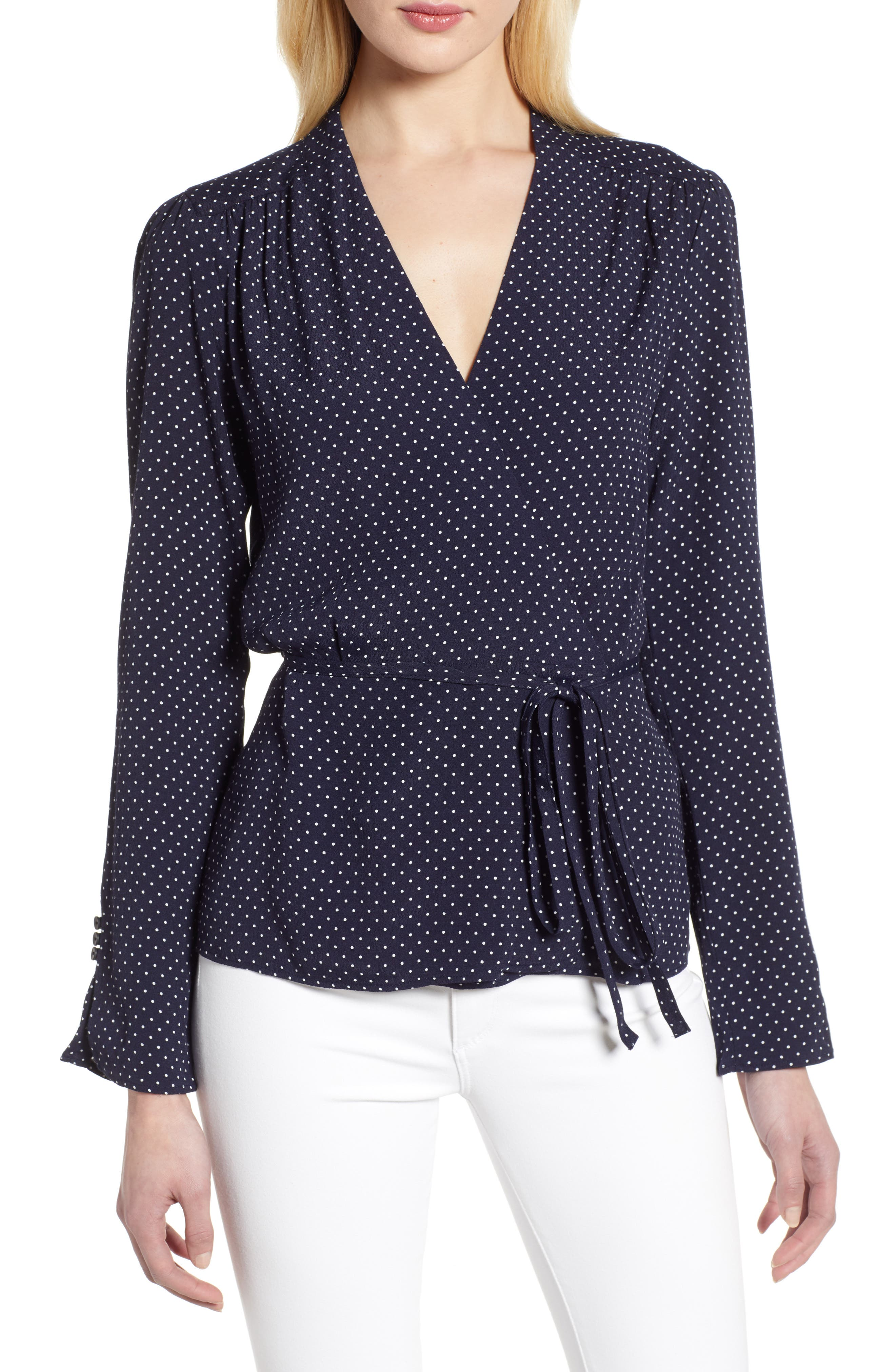 ,                             Tie Waist Wrap Top,                             Main thumbnail 1, color,                             NAVY NIGHT MINI DOT