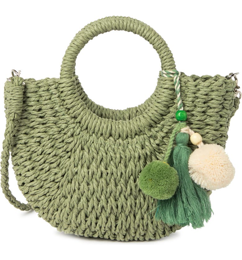 MOST WANTED USA Top Handle Straw Crossbody Bag, Main, color, GREEN