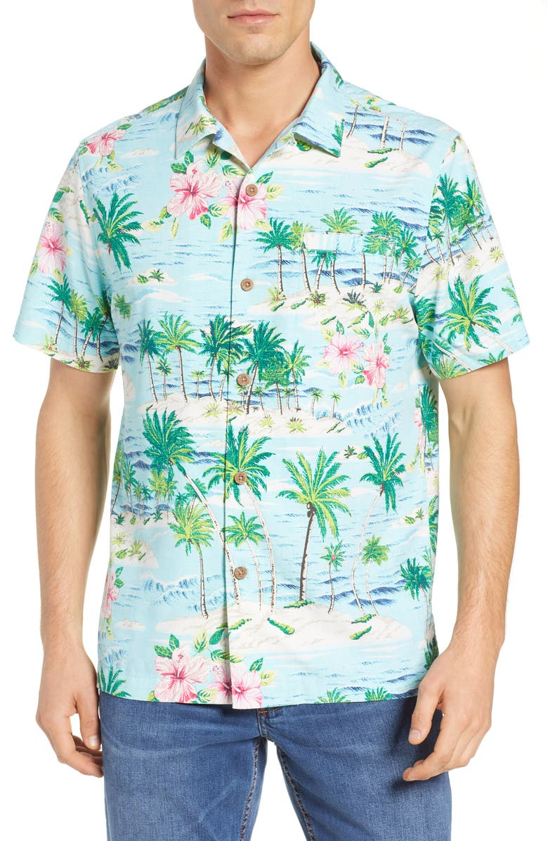 TOMMY BAHAMA Aloha Surf Classic Fit Silk Blend Camp Shirt, Main, color, 400