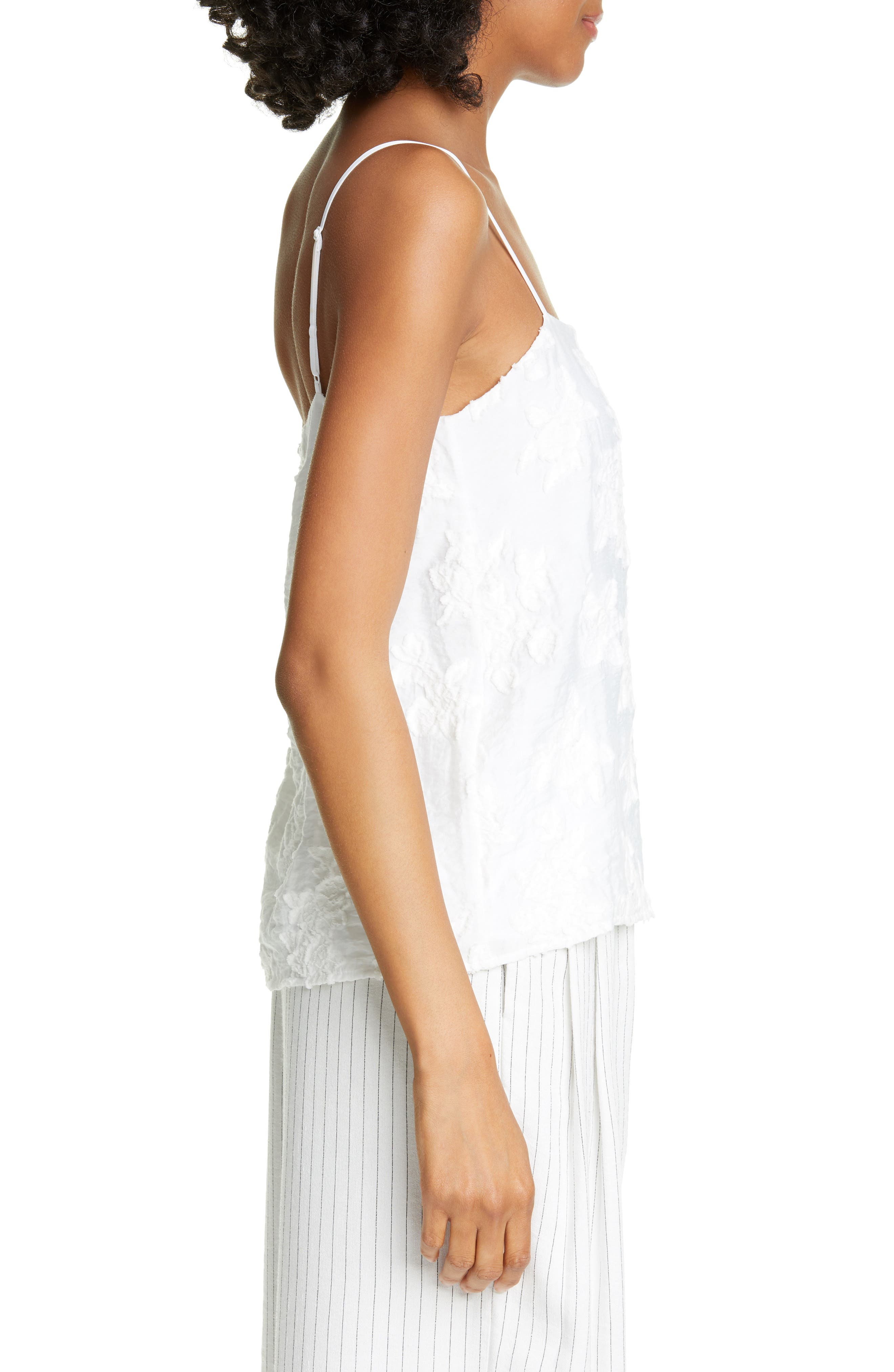,                             Textured Floral Camisole,                             Alternate thumbnail 3, color,                             OPTIC WHITE