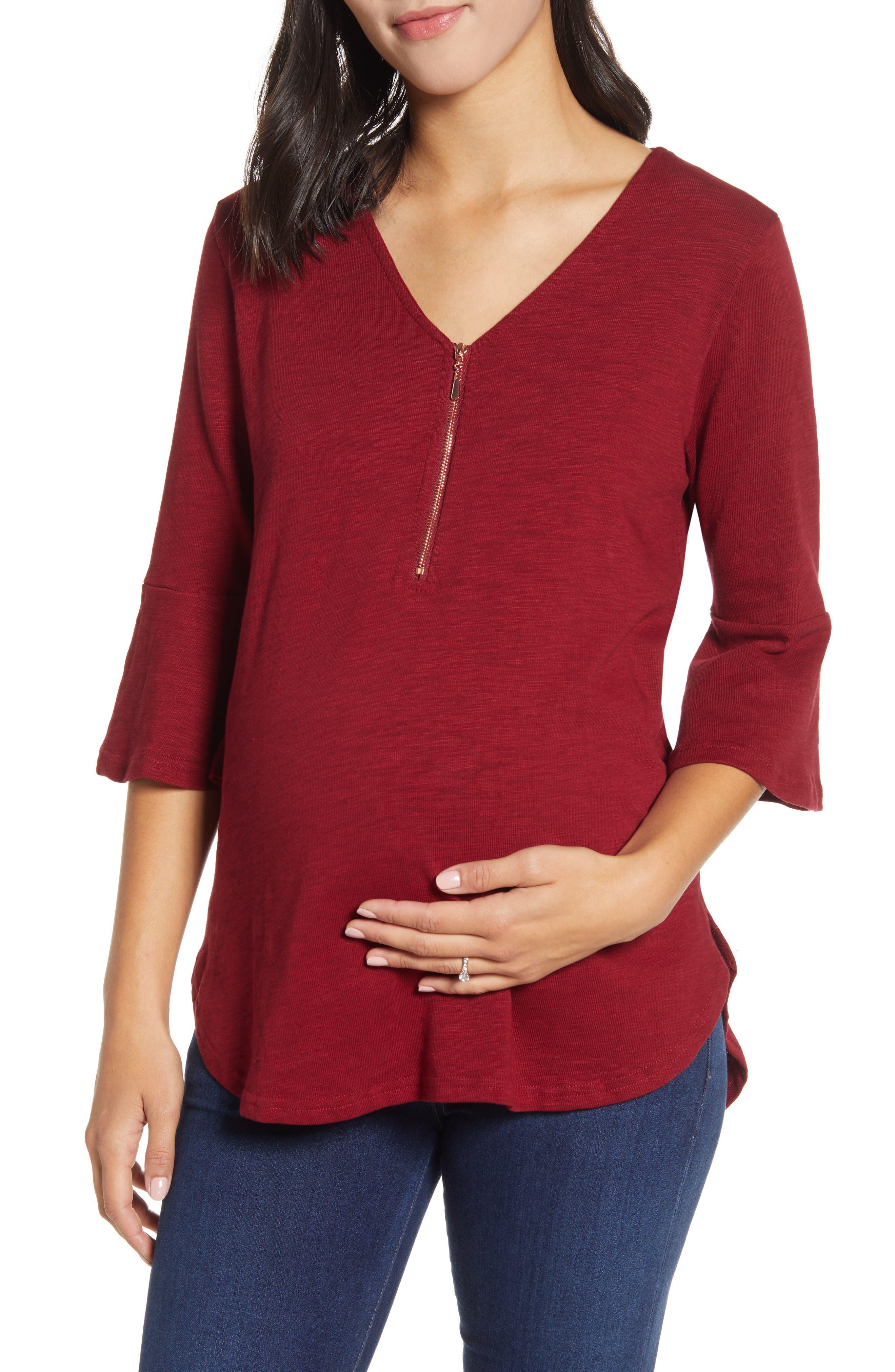 Zip Front Bell Sleeve Maternity/nursing Top