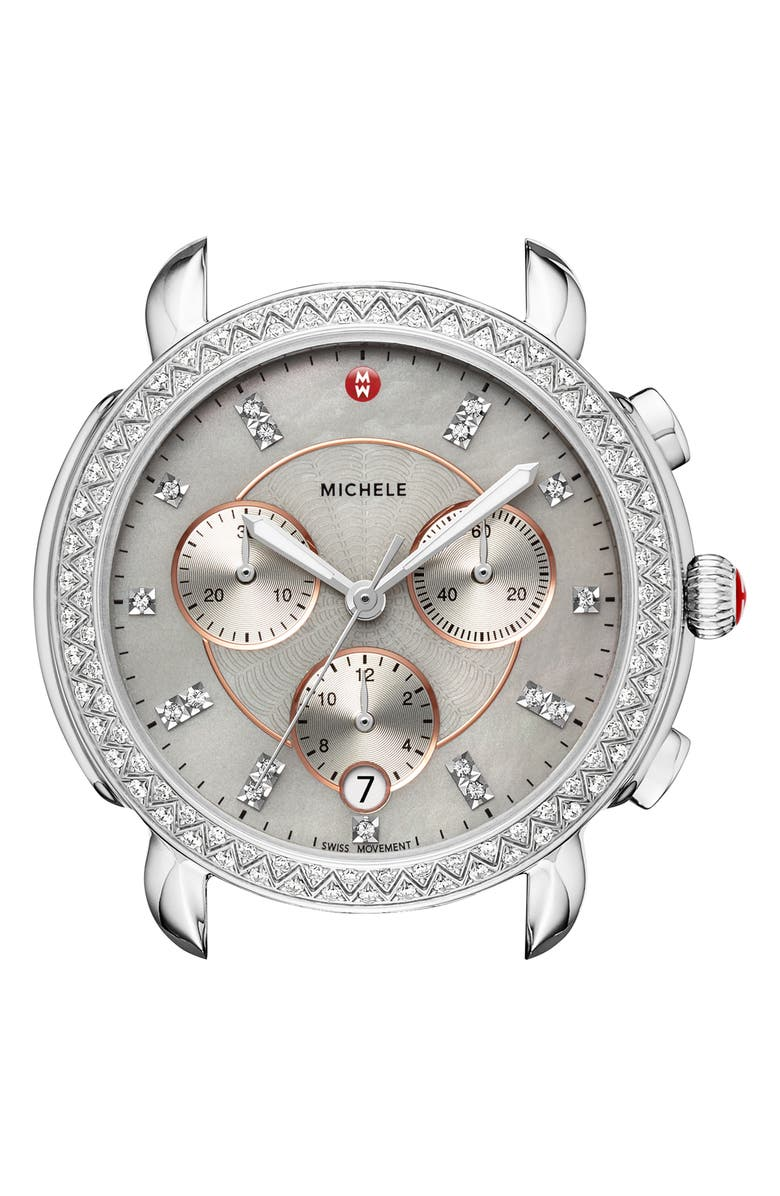 MICHELE Sidney Chrono Diamond Diamond Dial Watch Case, 38mm, Main, color, SILVER/ CASHMERE/ ROSE GOLD