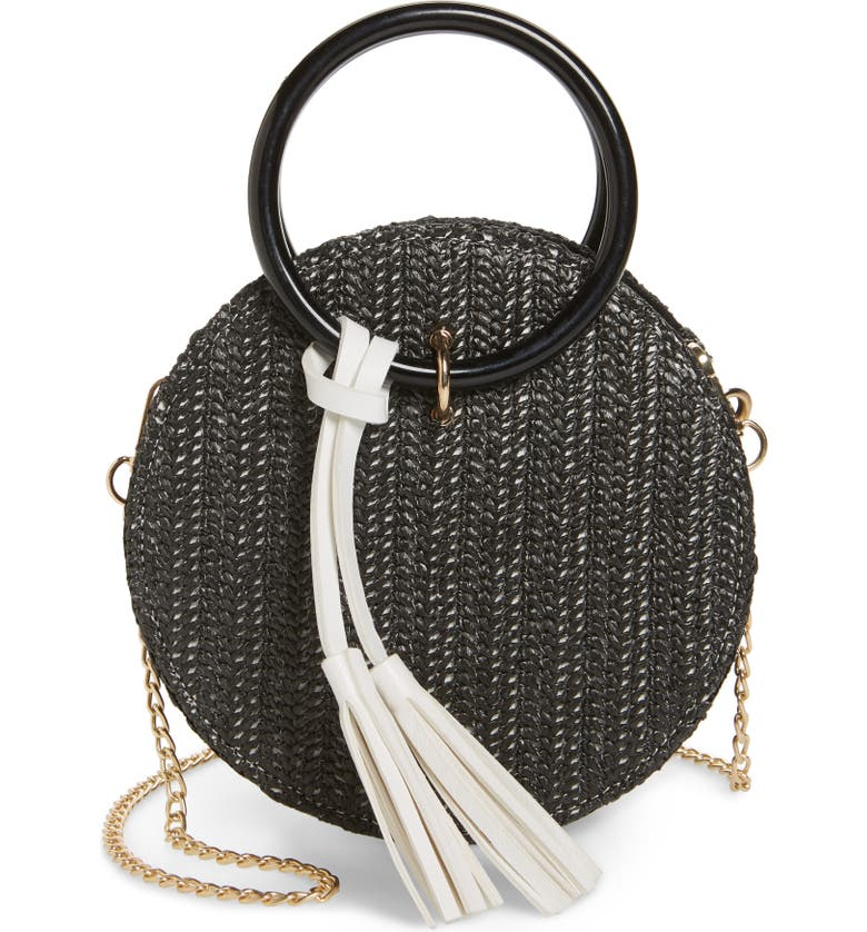 KNOTTY Round Straw Crossbody Bag, Main, color, BLACK