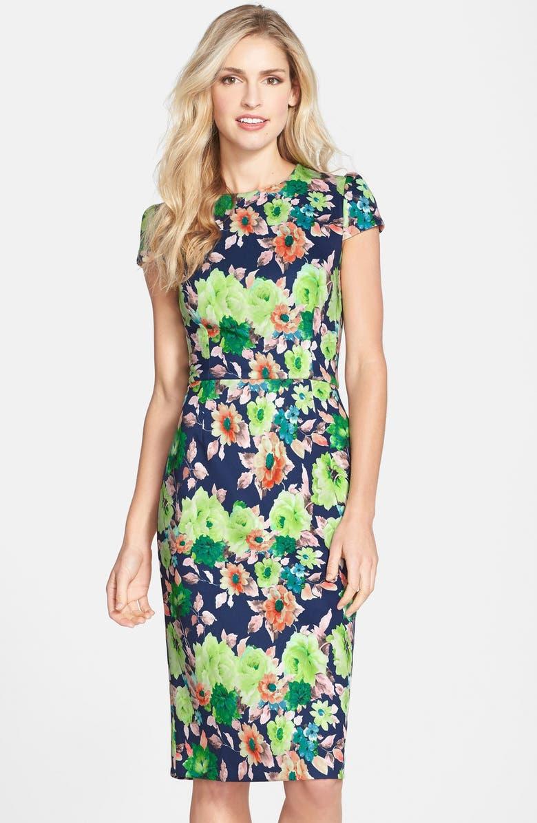 aa6a1c54d130e5 Betsey Johnson Floral Print Scuba Midi Sheath Dress | Nordstrom