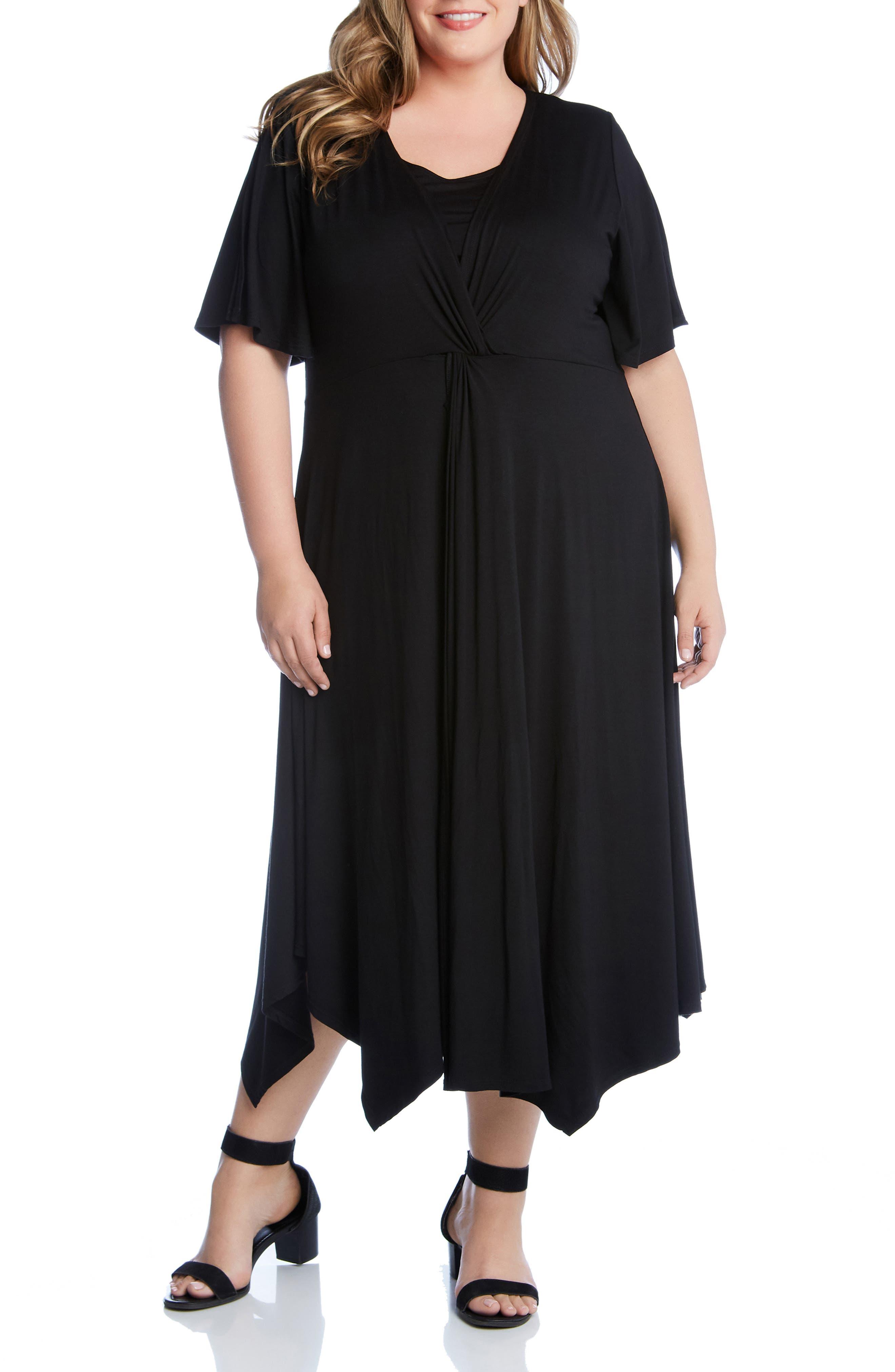 Plus Size Karen Kane Asymmetrical Twist Front Maxi Dress, Black