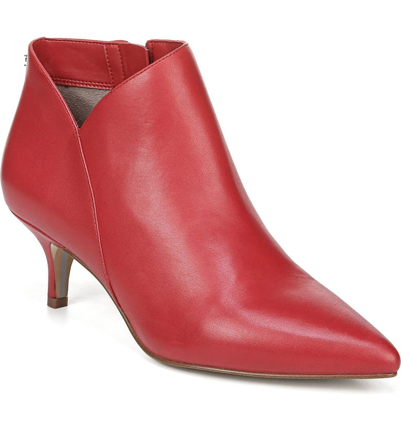 SAM EDELMAN Kadison Pointed Toe Kitten Heel Bootie, Main, color, PASSION RED LEATHER