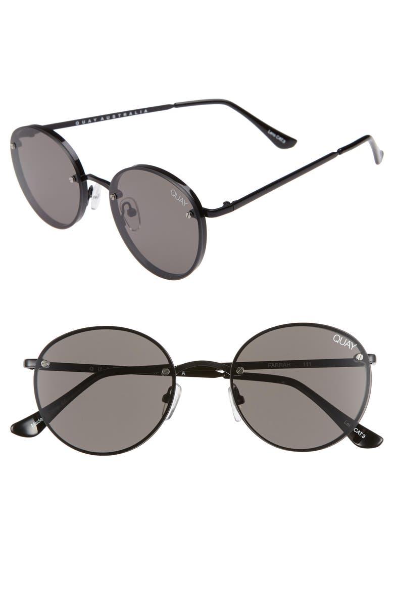 QUAY AUSTRALIA x Elle Ferguson Farrah 53mm Round Sunglasses, Main, color, 001