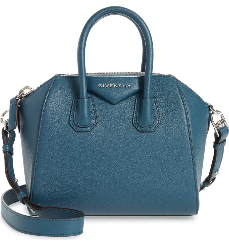 GIVENCHY Mini Antigona Sugar Leather Satchel, Main, color, OIL BLUE