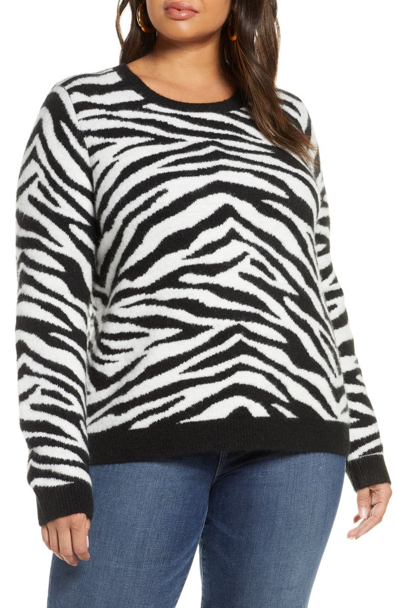 HALOGEN<SUP>®</SUP> Zebra Stripe Crewneck Pullover, Main, color, IVORY- BLACK ZEBRA PATTERN