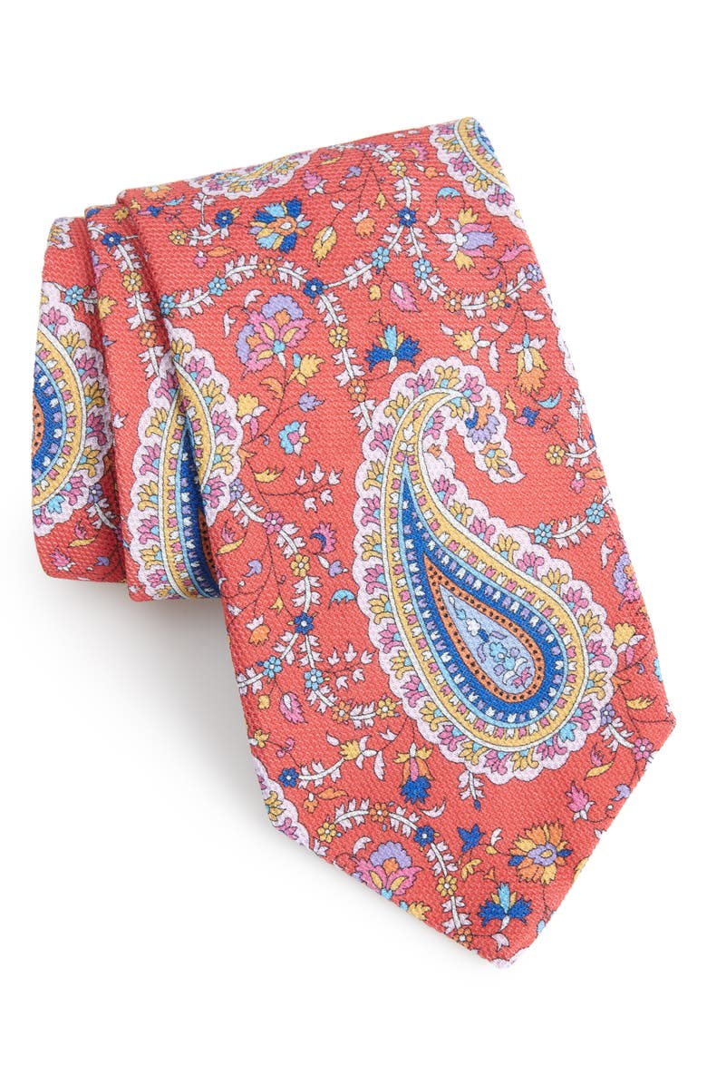 ETON Paisley Cotton Tie, Main, color, PINK/ RED