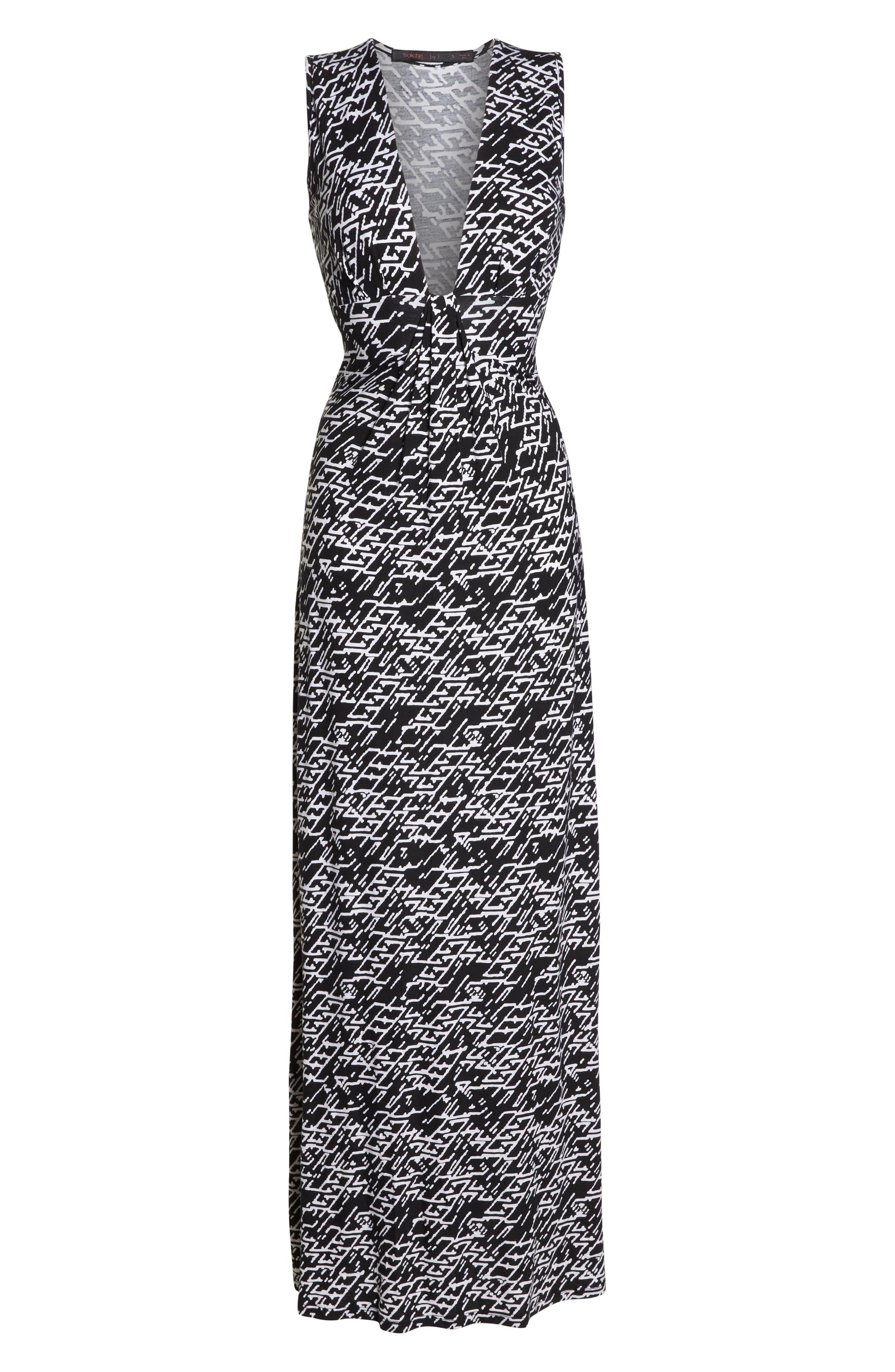 ,                             Plunge Neck Maxi Dress,                             Alternate thumbnail 7, color,                             005