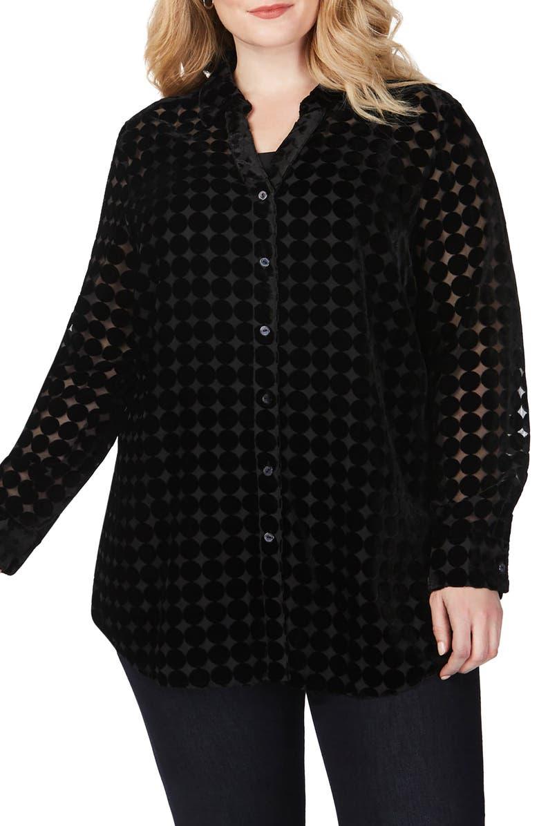FOXCROFT Faith Burnout Dot Tunic Shirt, Main, color, BLACK