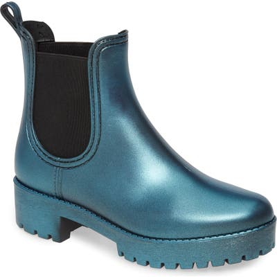 Jeffrey Campbell Cloudy Waterproof Chelsea Rain Boot, Blue