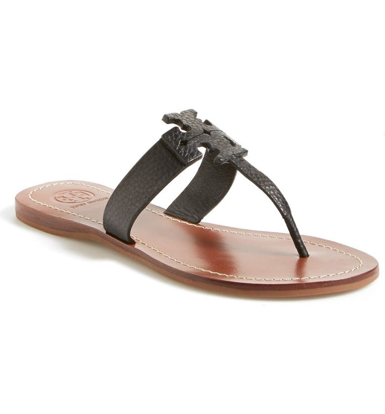 TORY BURCH 'Moore' Leather Thong Sandal, Main, color, 001