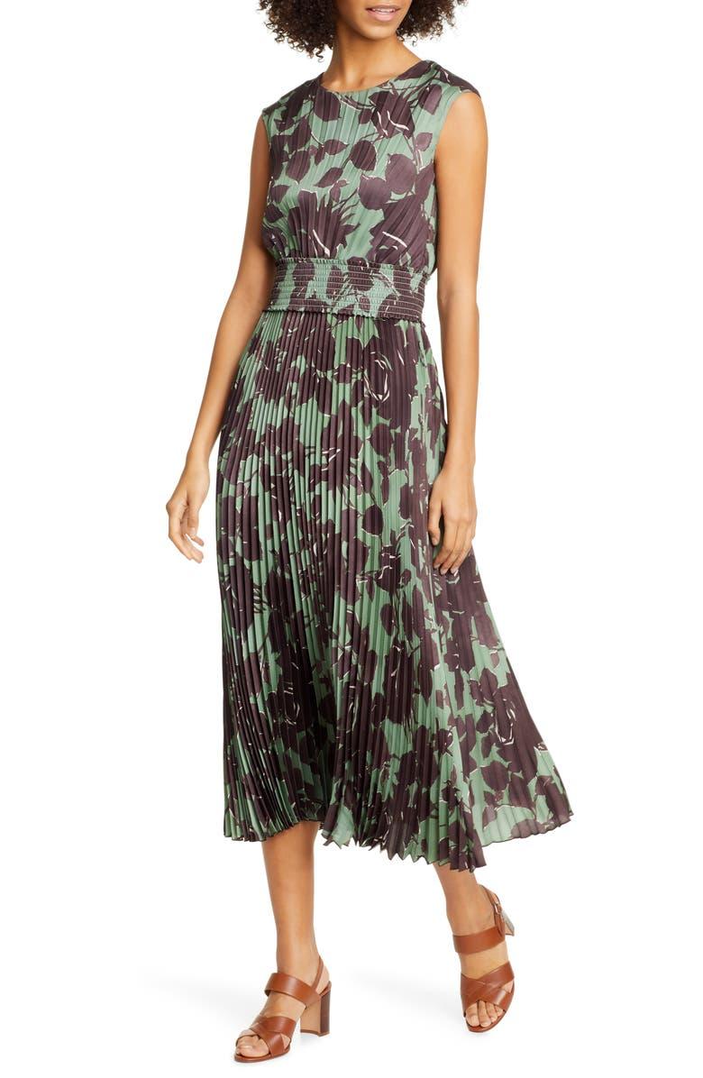 SEVENTY VENEZIA Botanical Print Sleeveless Twill Pleated Dress, Main, color, 311