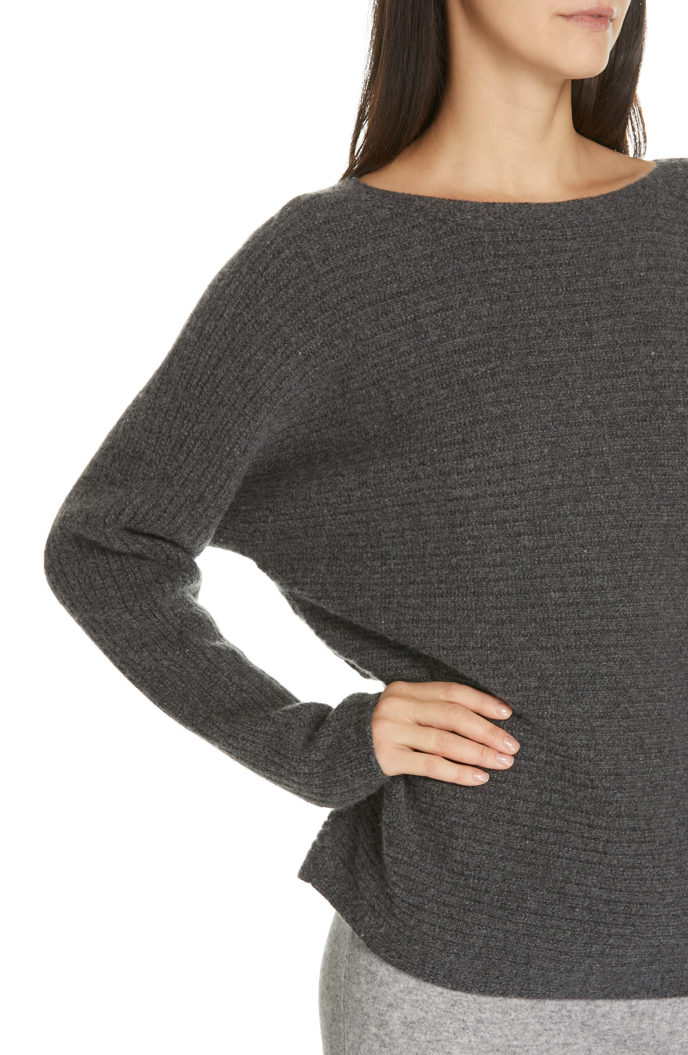 ,                             Horizontal Ribbed Sweater,                             Alternate thumbnail 4, color,                             HEATHER PEWTER