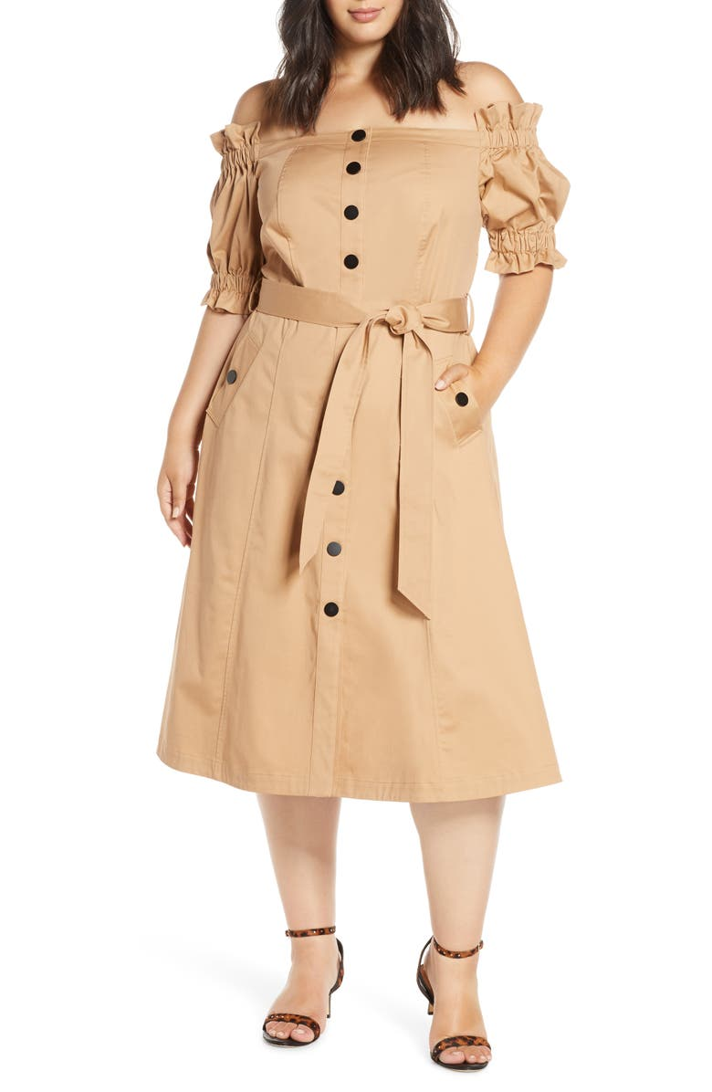 ELOQUII Off the Shoulder Trench Dress, Main, color, KHAKI