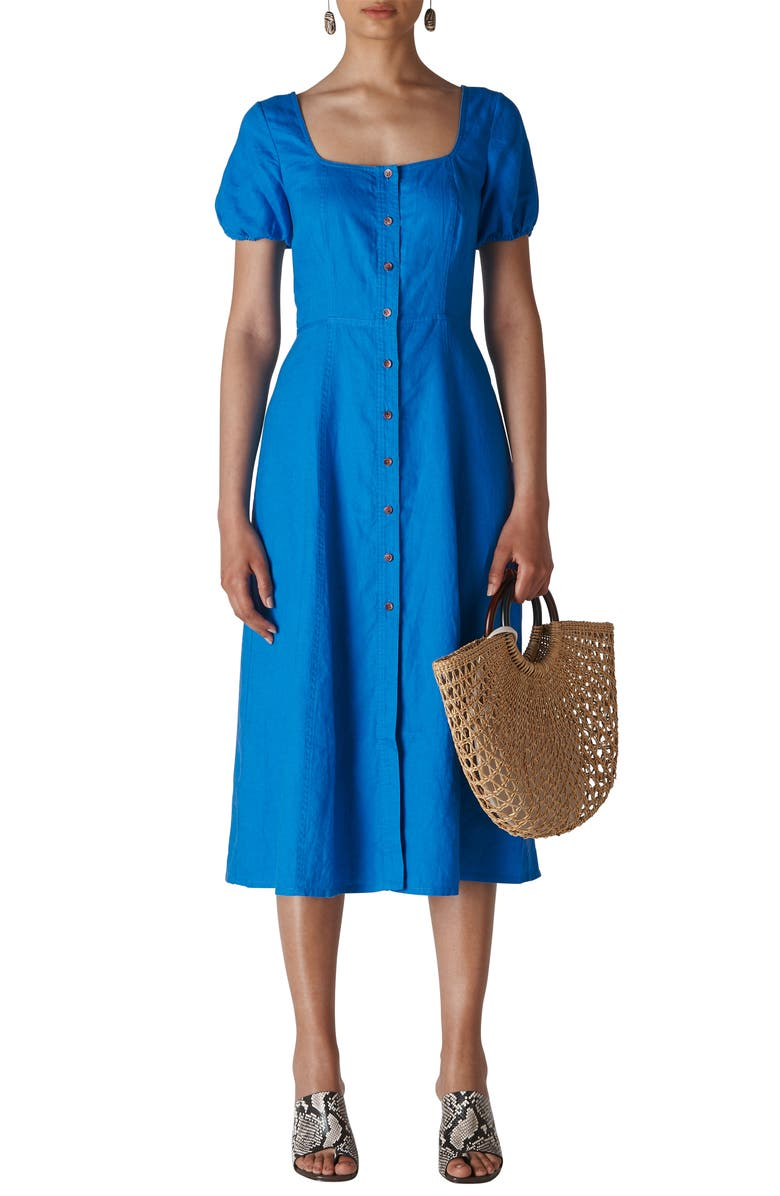WHISTLES Remi Linen Midi Dress, Main, color, BLUE