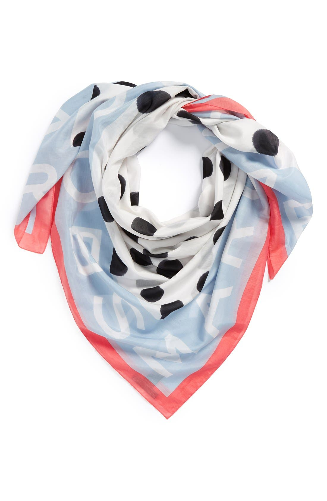 ,                             MARC BY MARC JACOBS 'Blurred Dot' Cotton & Silk Square Scarf,                             Main thumbnail 1, color,                             100