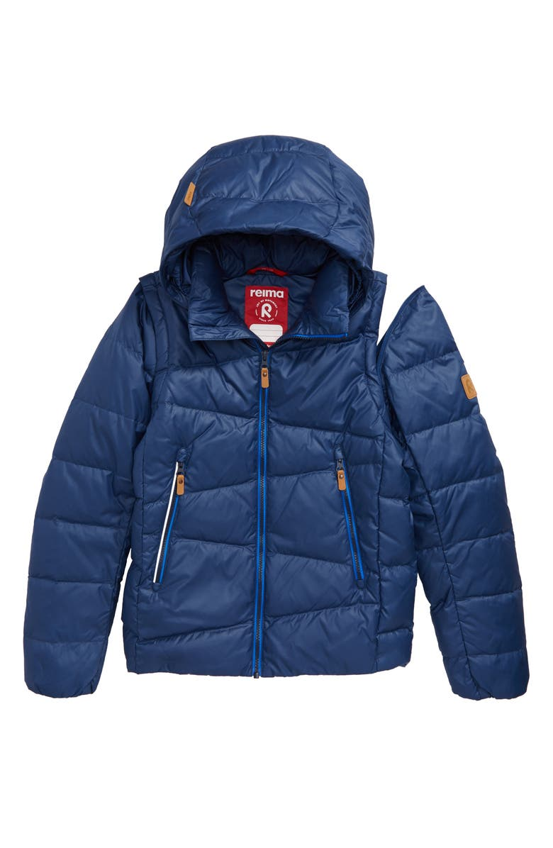 REIMA Water Resistant 550 Fill Power Down Jacket with Removable Hood, Main, color, BLUE