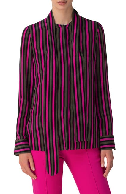 Image of Akris punto Stripe Tie Neck Silk Blouse
