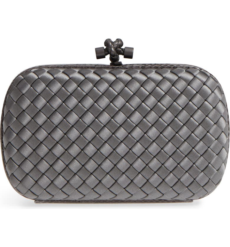 BOTTEGA VENETA New Satin & Genuine Snakeskin Knot Clutch, Main, color, 050