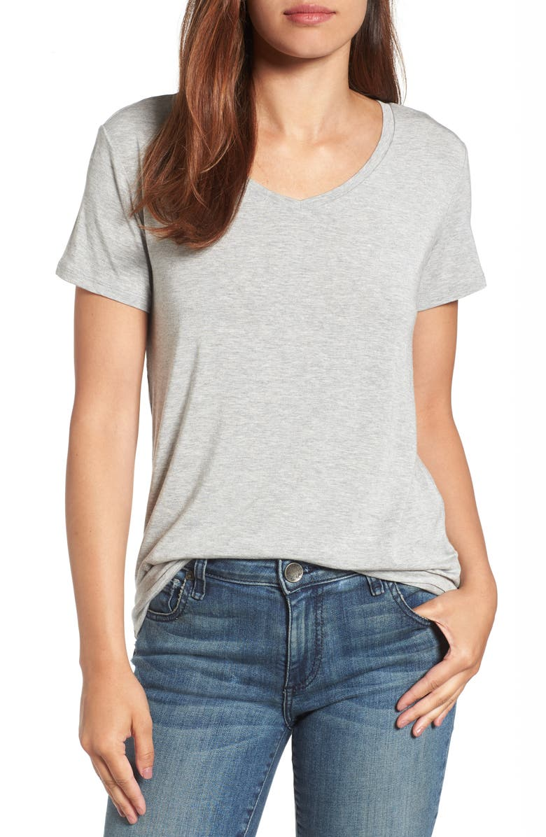 HALOGEN<SUP>®</SUP> Modal Jersey V-Neck Tee, Main, color, GREY HEATHER