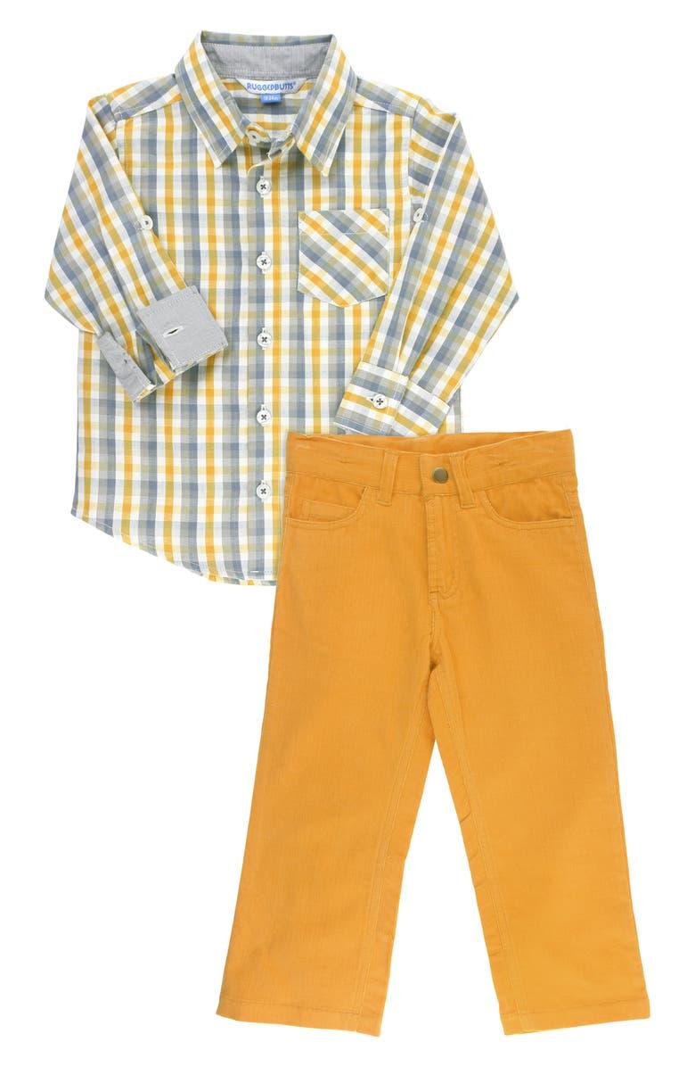 RUGGEDBUTTS Plaid Shirt & Pants Set, Main, color, YELLOW