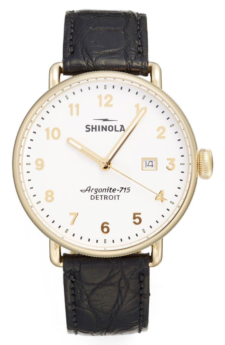 SHINOLA The Canfield Leather Strap Watch, 43mm, Main, color, 001