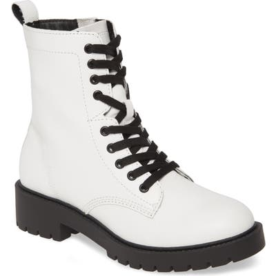 Steve Madden Guided Combat Boot- White