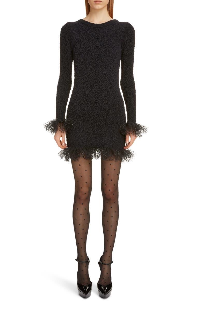 SAINT LAURENT Tulle Trim Long Sleeve Bouclé Dress, Main, color, NOIR