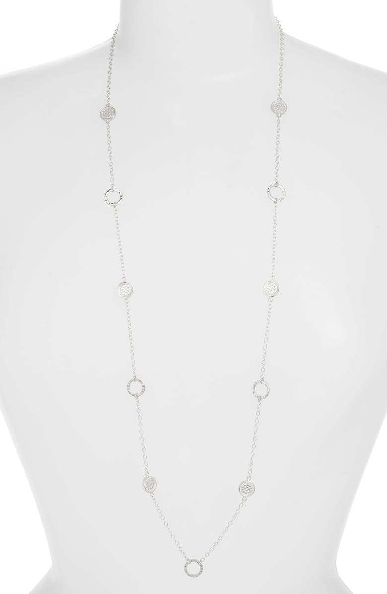 ANNA BECK Long Hammered Station Necklace, Main, color, SILVER