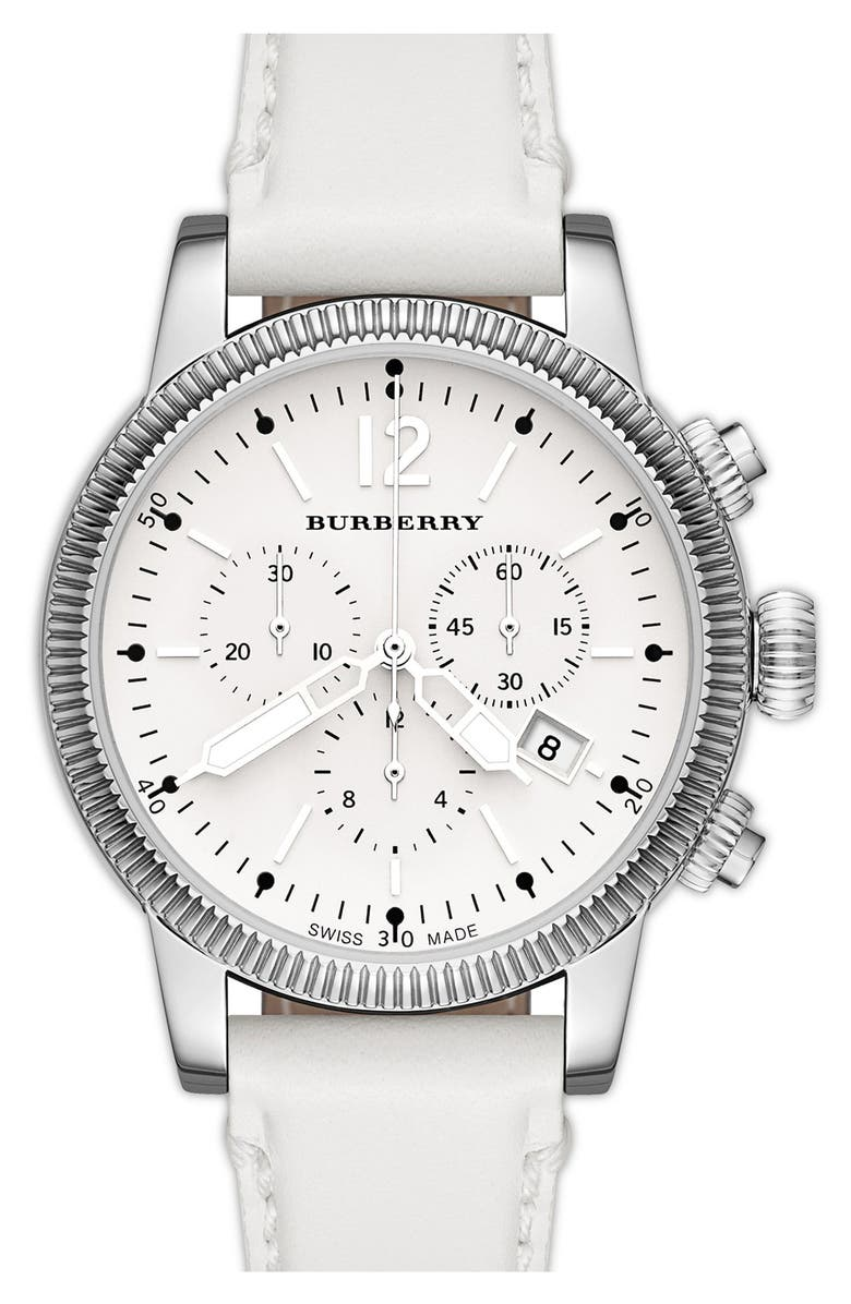 BURBERRY Round Leather Strap Watch, 42mm, Main, color, 100
