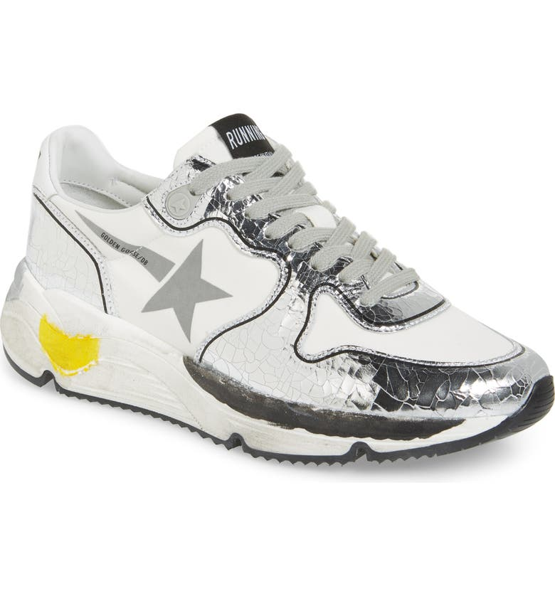 GOLDEN GOOSE Running Sole Sneaker, Main, color, SILVER/ WHITE