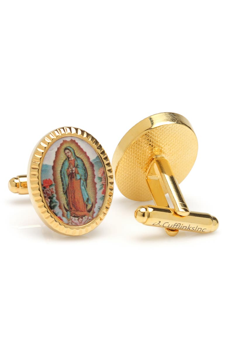 CUFFLINKS, INC. Lady Of Guadalupe Cuff Links, Main, color, GOLD