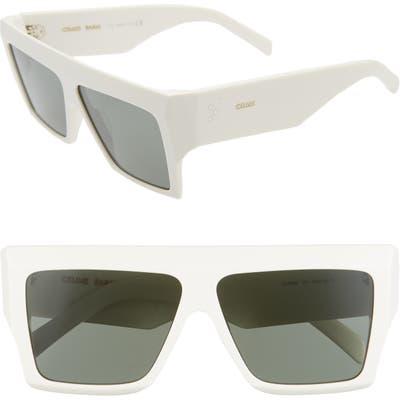 Celine 60mm Flat Top Sunglasses - White/ Green